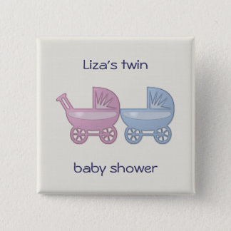 pink & blue baby buggy pinback button