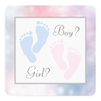 Pink Blue Baby Feet Footprint Gender Reveal Card