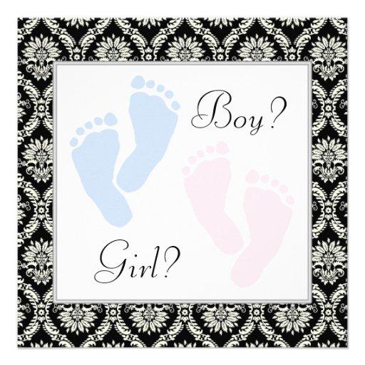 Pink Blue Baby Feet Footprint Gender Reveal Party Custom Invites