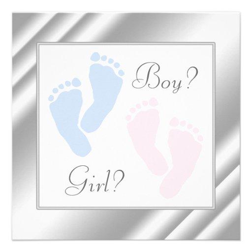 Pink Blue Baby Feet Footprint Gender Reveal Party Invites