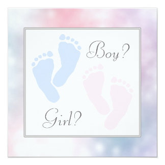Pink Blue Baby Feet Footprint Gender Reveal Party Invite