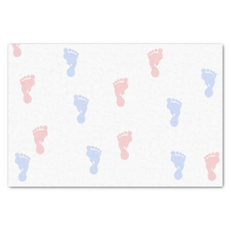 Pink & Blue Baby Footprints 10lb Tissue Paper