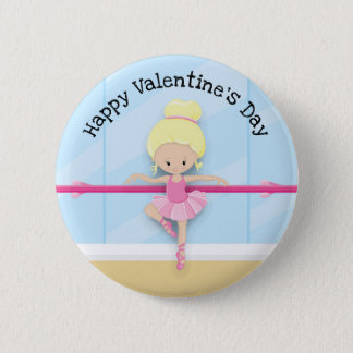 Pink Blue Ballerina Valentine's Day Button