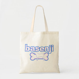 Pink & Blue Basenji Tote Bag