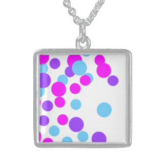 Pink Blue Big Circle Silver Square Necklace