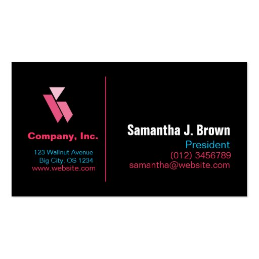 Pink Blue Black Business Card