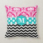 Pink Blue Black Damask Chevron Monogram Pillow