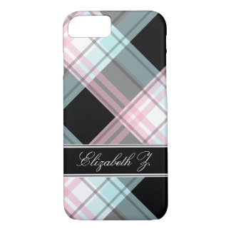 Pink Blue Black Plaid personalized iPhone 7 Case
