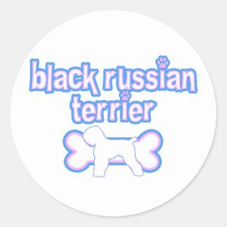 Pink & Blue Black Russian Terrier Classic Round Sticker