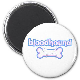Pink & Blue Bloodhound 2 Inch Round Magnet