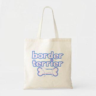 Pink & Blue Border Terrier Tote Bag