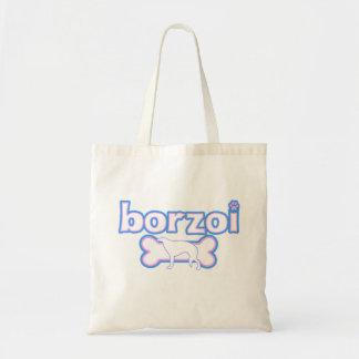 Pink & Blue Borzoi Tote Bag