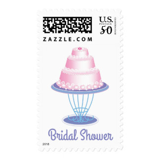 Pink & Blue Bridal Shower Wedding Cake Postage
