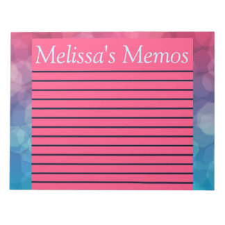 Pink/Blue Bright and Bubbly Lined Large Memo Pad