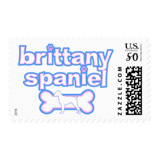 Pink & Blue Brittany Spaniel Postage Stamps