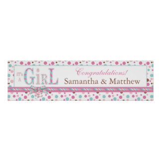 Pink Blue Brown Dots Baby Shower Banner Poster