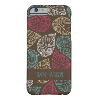 Pink Blue Brown Modern Doodle Leaves Pattern Barely There iPhone 6 Case