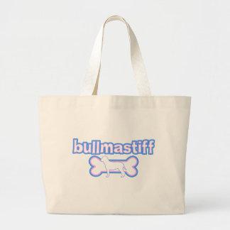 Pink & Blue Bullmastiff Large Tote Bag