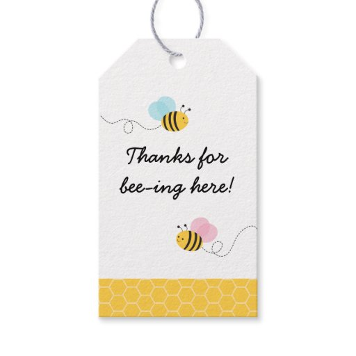 Pink & Blue Bumble Bee Gender Reveal Gift Tags