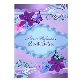 Pink Blue Butterfly Garden Sweet 16 Invite