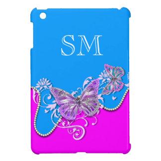 Pink blue butterfly monogram iPad mini case