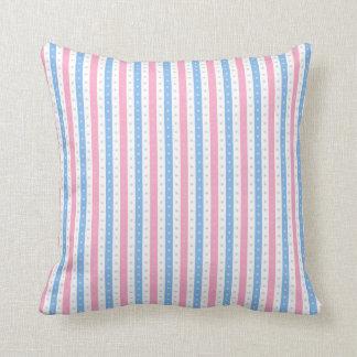Pink & Blue Candy-Wrap Stripes. Throw Pillow