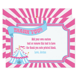 Pink, Blue | Carnival Thank You Cards