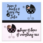 Pink Blue Carriage Gender Reveal 5.25x5.25 Square Paper Invitation Card