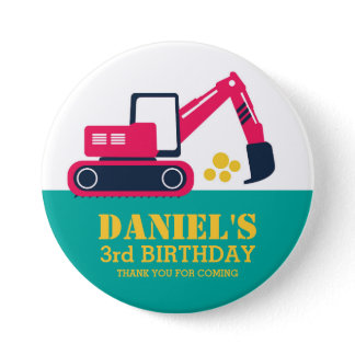 Pink Blue Cartoon Excavator Kids Birthday Button