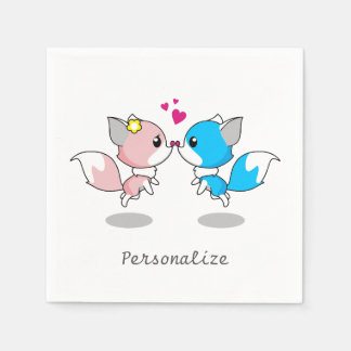 Pink & Blue Cartoon Fox Couple Paper Napkin