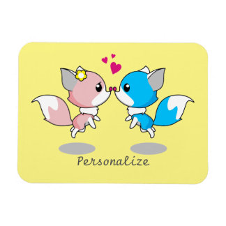 Pink & Blue Cartoon Fox Couple Rectangular Photo Magnet