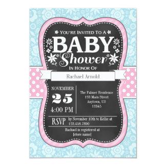 Pink Blue Chalkboard Floral Baby Shower Invite