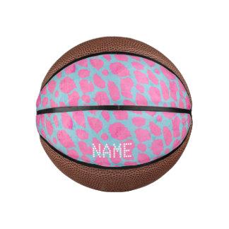 Pink Blue Cheetah Basketball