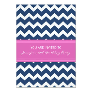 Pink Blue Chevron 20th Birthday Party Invitations