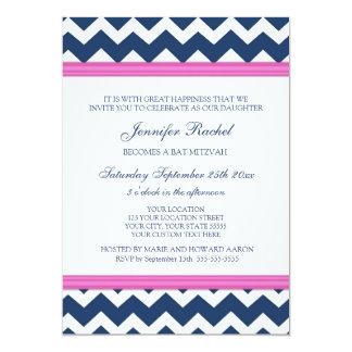 "Pink Blue Chevron Bat Mitzvah Invitations 5"" X 7"" Invitation Card"