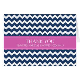 Pink Blue Chevron Bridal Shower Thank You Card