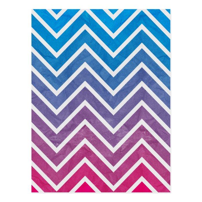 Pink Blue Chevron Pattern Postcard