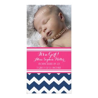 Pink Blue Chevron Photo Baby Birth Announcement