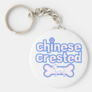 Pink & Blue Chinese Crested Keychain