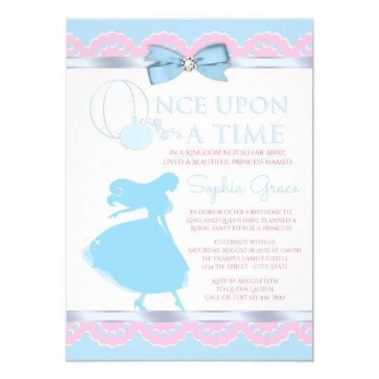 Pink blue cinderella birthday party invitation zazzle pink blue cinderella birthday party invitation filmwisefo