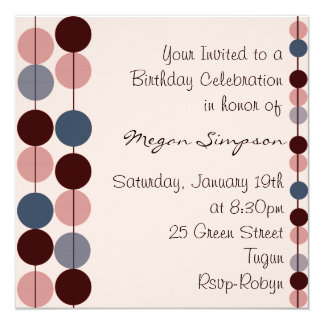 Pink & Blue Circle Design Birthday Invitation