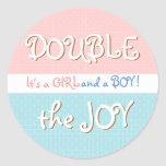 Pink & Blue Circles & Dot Twin Baby Sticker