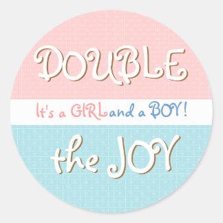 Pink Blue Circles Dot Twin Baby Sticker