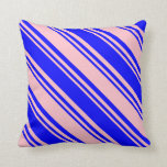 [ Thumbnail: Pink & Blue Colored Pattern of Stripes Pillow ]