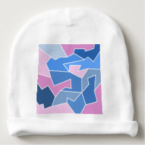 Pink blue colors abstract angles triangle shape baby beanie