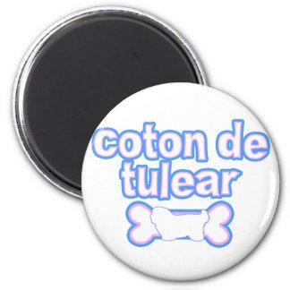 Pink & Blue Coton de Tulear 2 Inch Round Magnet