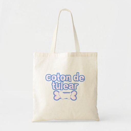Pink & Blue Coton de Tulear Canvas Bags