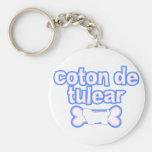 Pink & Blue Coton de Tulear Keychain