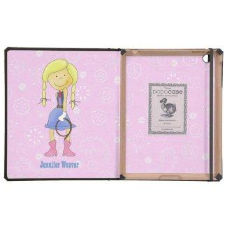 Pink & Blue Cowgirl DODO iPad Case