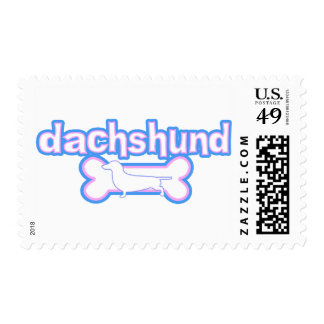 Pink & Blue Dachshund Postage Stamps